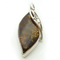 Sterling silver amber pendant - extraordinary stone