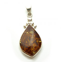 Unique amber pendant -Set in 925 sterling silver - hand made