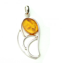 Amber with inclusions - honey pendant with silver
