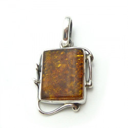 Cognac amber pendant with sterling silver