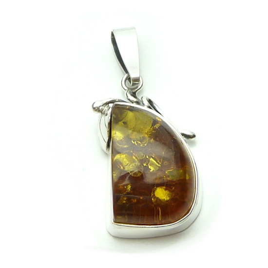 Amber pendant-beautiful unique jewellery made of silver