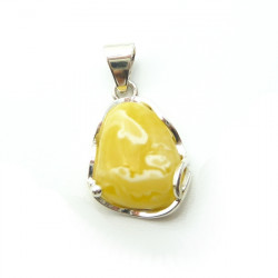 Sterling Silver & Genuine Baltic Milky Amber Pendant