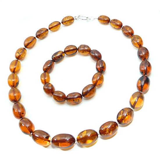 Perfect Baltic Amber Necklace & Bracelet Large Olive Beads 60 grams