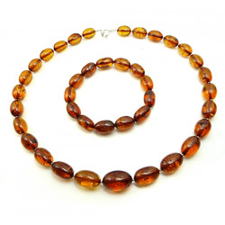 Luxury Baltic Amber Necklace & Bracelet Large Olive Beads 48 gram