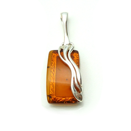 925 Sterling Silver Honeycomb amber pendant