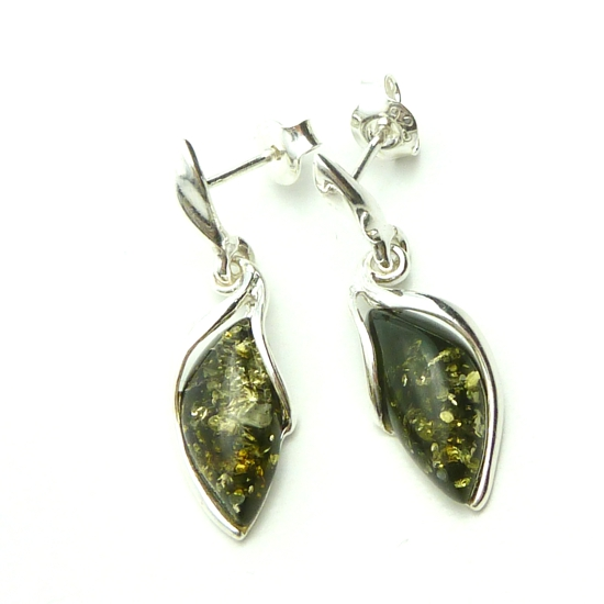 Sweet lily amber silver earrings - green amber
