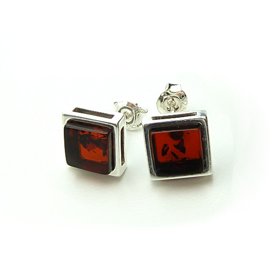 Square cherry(deep cognac) baltic amber earrings - NEW DESIGN