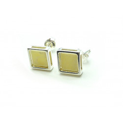 Square milky baltic amber earrings - NEW DESIGN