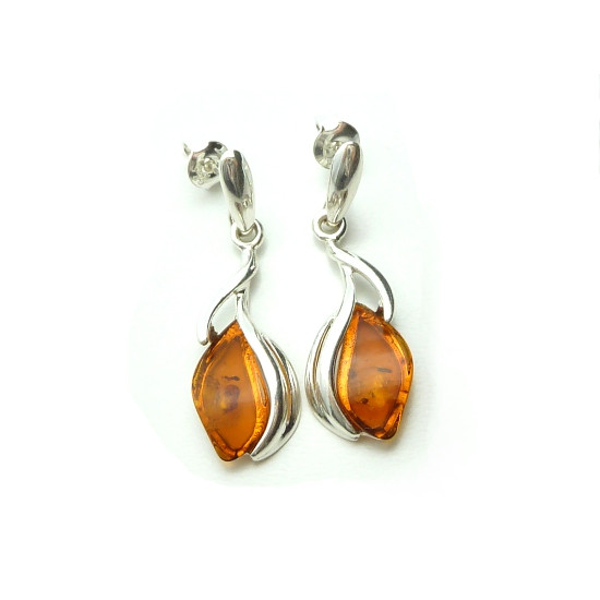 Sweet lily amber silver earrings