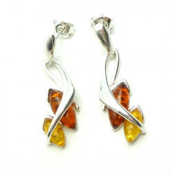 Yellow and Cognac Amber in Stylish Silver Earrings