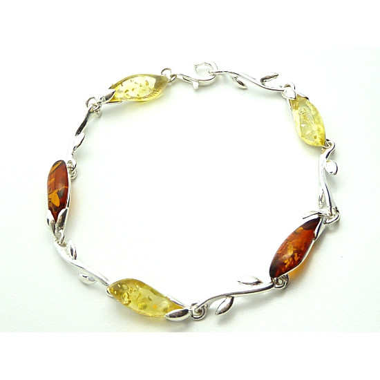 Cognac and Citrine Colour Amber and Silver Bracelet