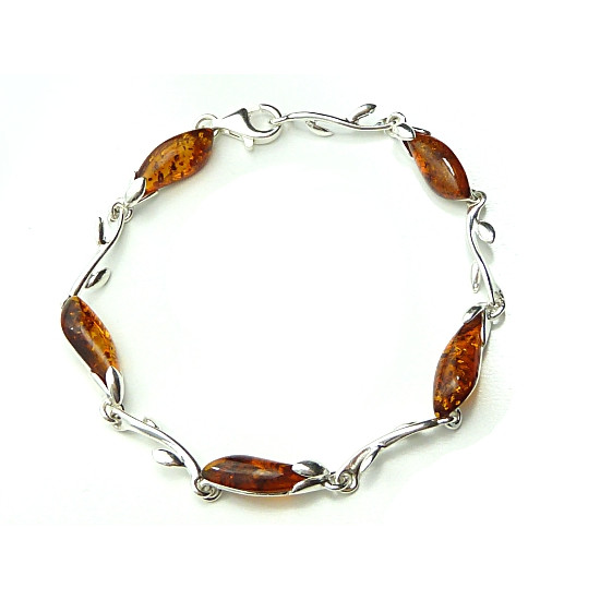Cognac Colour Amber and Silver Bracelet