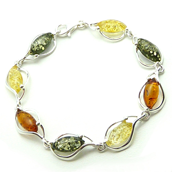 Mixed Colour Amber and SilverBracelet