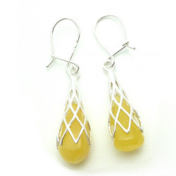 Milky amber earrings with sterling silver .925