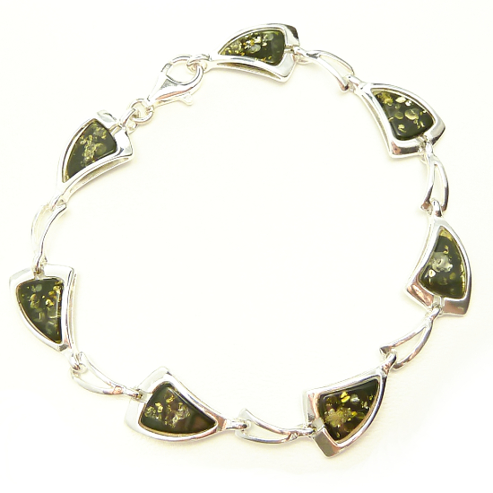 Light amber bracelet -green amber