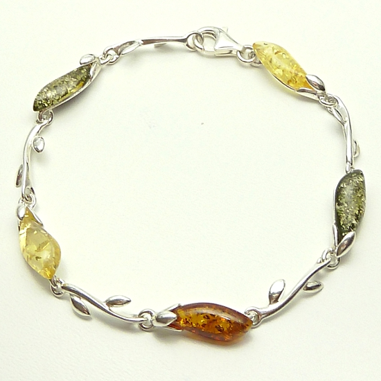 Citrine, cognac and green colour Amber and Silver Bracelet
