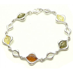 Beautiful sterling silver multi color amber bracelet