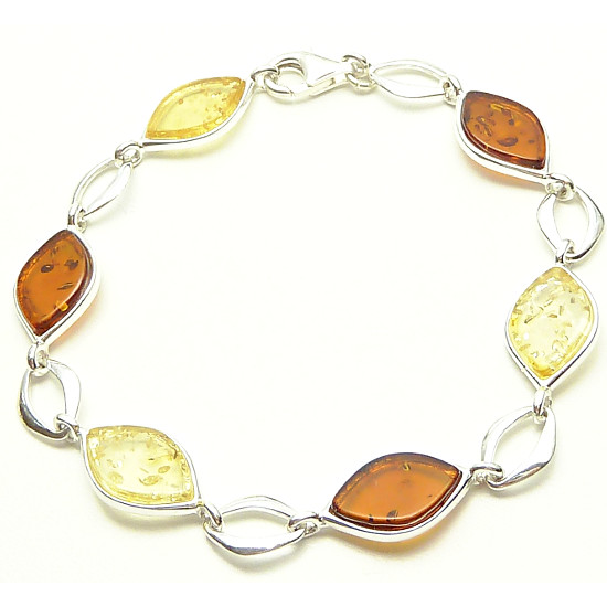 Contemporary teardrop cognac and yellow amber bracelet