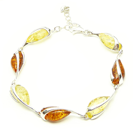 Cognac and yellow milky amber bracelet - elegance