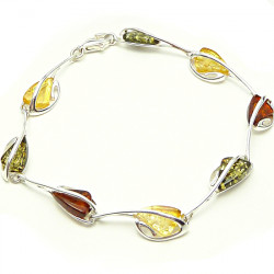 Cognac, yellow and green amber bracelet - big stones - NEW DESIGN