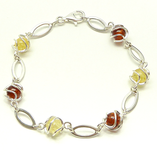 Sterling Silver Amber  Bracelet  - cognac and yellow
