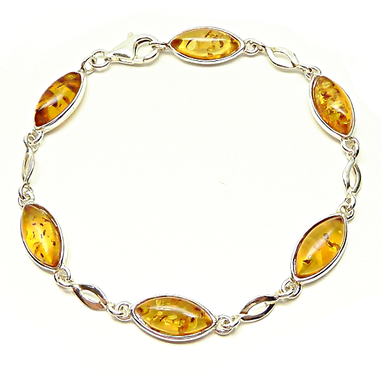 Amazing honey amber bracelet - sterling silver.925