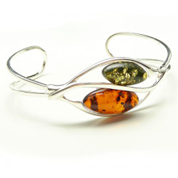 Baltic amber green and cognac bracelet - beautiful and unique