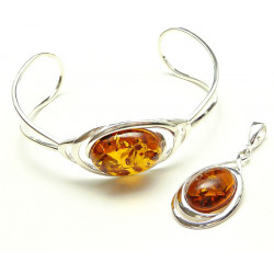 Big cognac amber jewelry set in silver .925