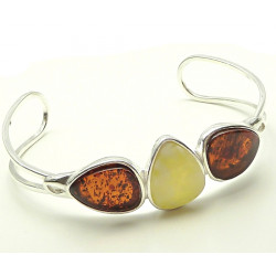 Cognac and milky Amber Sterling Silver Three Stone Cuff Bracelet
