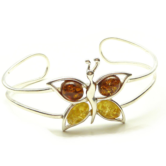 Sterling Silver Amber Butterfly Bracelet - cognac and sunny amber