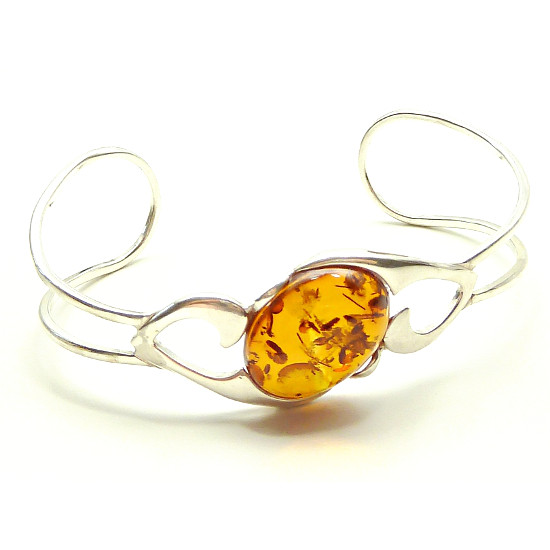 Handmade bangle with genuine baltic amber bracelet
