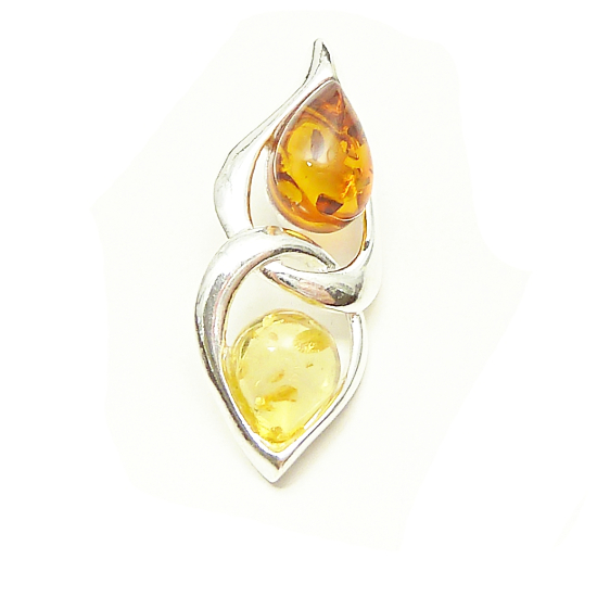 Unique amber pendant - cognac and yellow amber