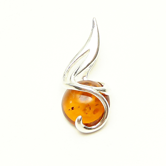 Royal Cognac amber pendant with sterling silver .925  -COGNAC