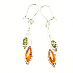 Silver Classic Amber Marquise Set Drop Green and cognac Amber Earrings