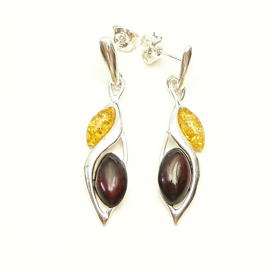 Silver Classic Amber Marquise Set Drop yellow and cherry Amber Earrings