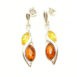 Silver Classic Amber Marquise Set Drop yellow and cognac Amber Earrings