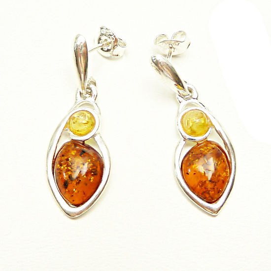 Beautiful cognac and citrine stud amber earrings