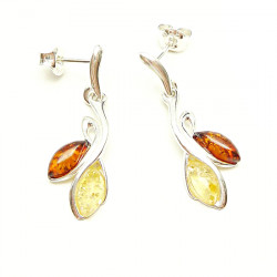 Silver Amber Marquise Set Drop yellow and cognac Amber Earrings