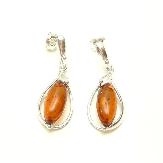 Silver Amber Set Oval Cognac Amber Earrings