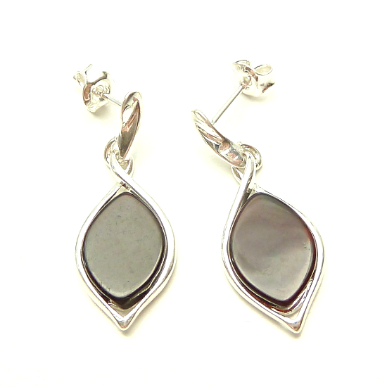 Silver Classic Amber Marquise Set Drop Cherry Amber Earrings