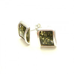 Square green baltic amber earrings - NEW DESIGN