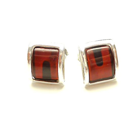 Square cherry baltic amber earrings - NEW DESIGN