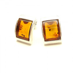 Square cognac baltic amber earrings - NEW DESIGN