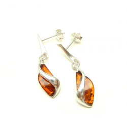 Cognac stud amber earrings