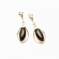 Silver Amber Set Oval Cherry Amber Earrings