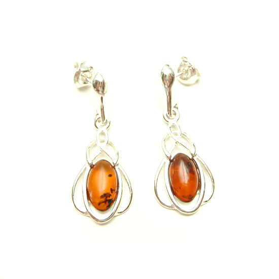 Celtic cognac amber stud earrings