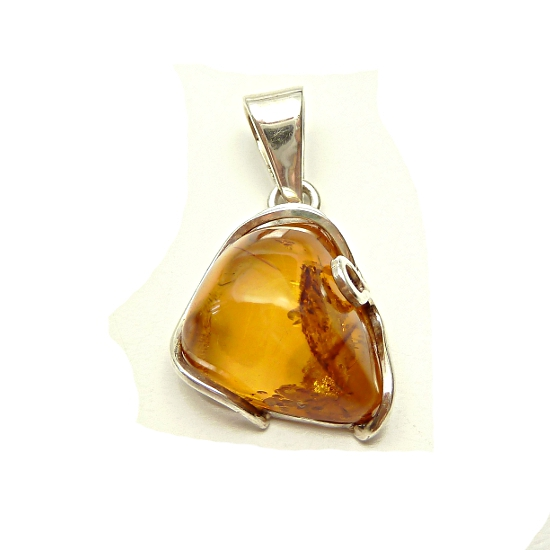 Sterling Silver And Beautiful Honey Amber Pendant