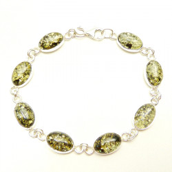 Classic green  colour sterling silver amber bracelet