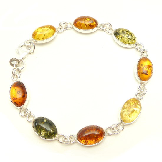 Cognac, green and yellow colour sterling silver amber bracelet