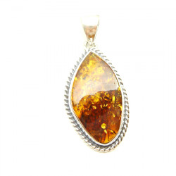 Sterling Silver Amber Pendant - lovely